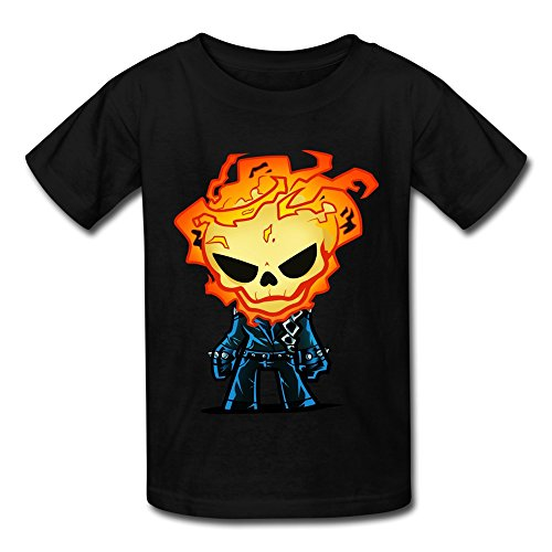 TBTJ Ghost Rider 2007 Superhero Film T-shirt For Youth 6-16 Years Old Black Medium -