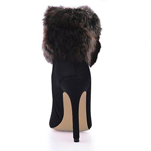 und schwarz neue high Damen Kurz das satin runden heel Schuhe Kopf Mädchen Stiefel Maomao startet Winter FvSpdqw