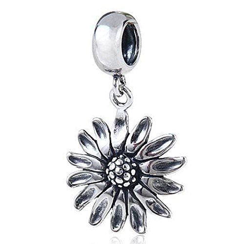 (Sunflower Charm 925 Sterling Silver Flower Pendant Dangle Bead for Bracelet)