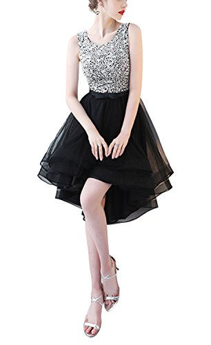Fanhao Fanho Women's V Neck Sequins Chiffon Bridal Evening Party Long Prom Dress,Black,XS (Teen Dresses Homecoming)