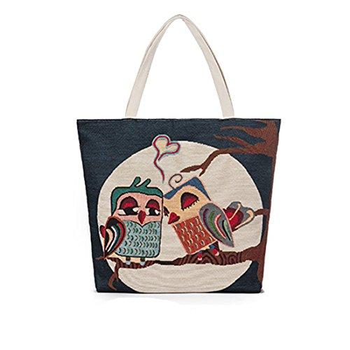 Dunland Sac bandoulière Simple épaule Toile brodée Owl Drawstring Sac à Main en Toile A26 Multicolore2 Multicolore4