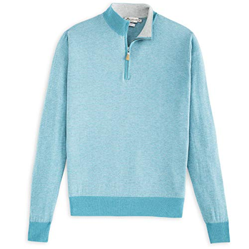 Mens Quarter Zip Striped Sweater - PETER MILLAR Crown Soft Striped Cotton and Silk Quarter-Zip Sweater (XL, Fishtrap)