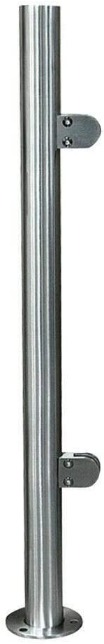 HaroldDol 90cm Landing Baluster Poles Handrail Railing with Glass Clamps and Rubbers Stainless Steel Balustrade Posts