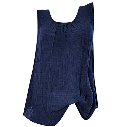 Cotton Linen Tops for Women,Sleeveless Baggy Solid Color Vest Tee Blouse Tank Tops Plus Size S-5XL Chaofanjiancai Blue