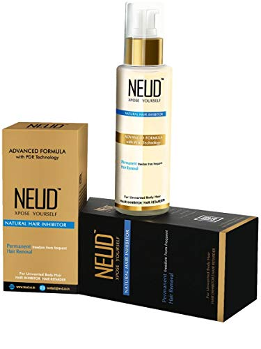 NEUD Natural Hair Inhibitor for Permanent Reduction of Unwanted Body & Facial Hair in Men & Women - Pack of 1 (Best Hair Inhibitor Cream)