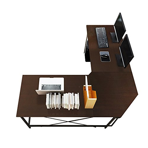 Soges 59 x 59 inches Large L-Shaped Desk Computer Desk L Desk Office Desk Workstation Desk, Black CS-ZJ02-BK (Usb Shaped L Desk)