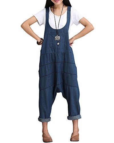 Quge Donna Salopette Retro Lungo Vita Alta Tuta Larghi Di Jeans Denim Pantaloni Con Le Tasche Blu