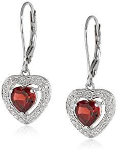 Sterling Silver Garnet and Diamond Heart Earrings (0.01 Cttw, H-I Color, I3 Clarity)