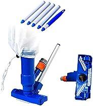 Nishore Kit de limpeza para piscina, aspirador de pó, cabeça de sucção com escovas Bolsa extensível de malha d
