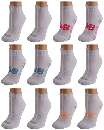 New Balance Women's Athletic Arch Compression Cushion Comfort Quarter Cut Socks (12 Pack)