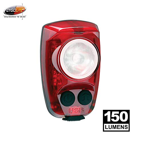 Cygolite Hotshot Pro- 150 Lumen Bike Tail Light- 6 Night & Daytime Modes- User Tuneable Flash Speed- Compact Design- IP64 Water Resistant- Secured Hard Mount- USB Rechargeable- Great for Busy Roads