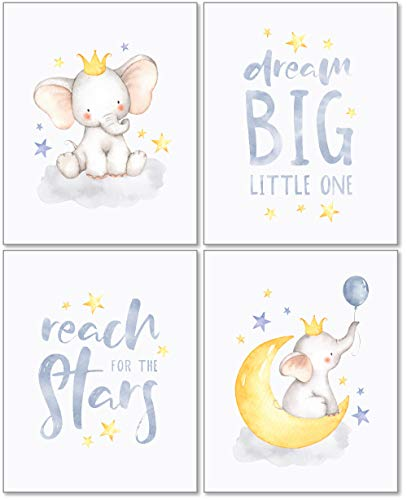 Confetti Fox Elephant Dream Big Baby Nursery Wall Art Decor - 8x10 Unframed Set of 4 Prints - Gender Neutral Boy Girl Lullaby Twinkle Star Moon Quotes ()
