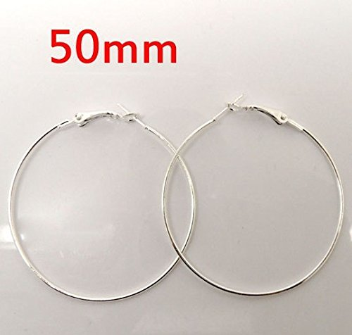 30pcs Dia.50mm Silver Plated Earrings Clasps DIY Jewelry Hooks Findings Accessories