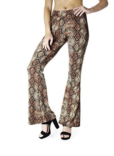 Snake Design - BAYSYX - Flared Bell Bottom Fashion Print Women's Leggings | Yummy Soft Brushed Design (Snake Print, Small)