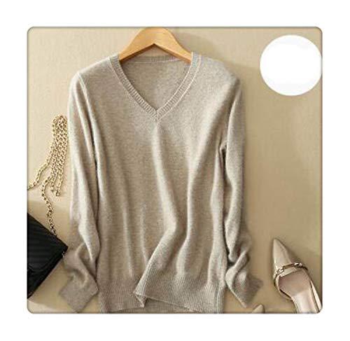 Cashmere Sweater V Neck Women Fashion Autumn Pullovers Knit Cashmere Female Sweater Women Slim Knit Coat Blouse Winter Knitwear Khaki XXL