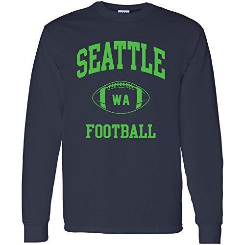 UGP Campus Apparel Seattle Classic Football Arch American Football Team Long Sleeve T Shirt - Large - Navy - Navy Blue Stadium T-shirt