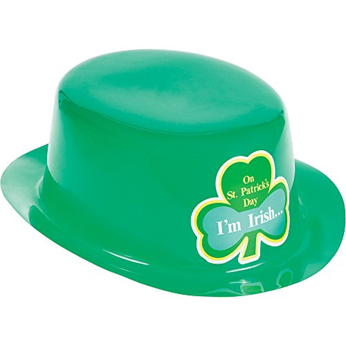 (Creative Converting 12-Count St. Patrick's Day Green Plastic Derby Hats with Stickers)