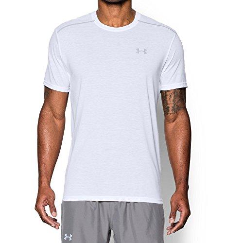 Under Armour Men's Threadborne Streaker Short Sleeve Shirt, White /Reflective, Large