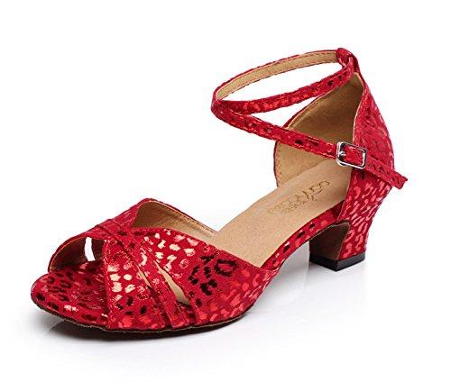 JSHOE Sexy Salsa Jazz Dance Chaussures Ballroom Latin Tango Party Danse Chaussures Talons Hauts,Red-heeled5cm-UK6/EU39/Our40