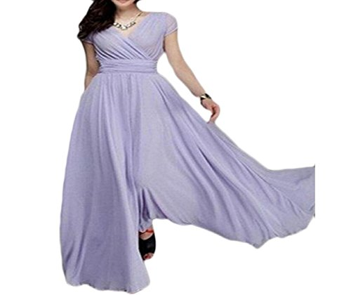 Coolred-femmes Boho Maxi Taille Ajustement Souples Robes Longues Robe Violet Clair