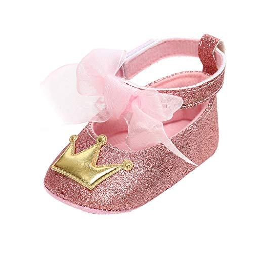 Infant Baby Girls Soft Sole Prewalker Crib Mary Jane Shoes Princess Light Shoes Pink