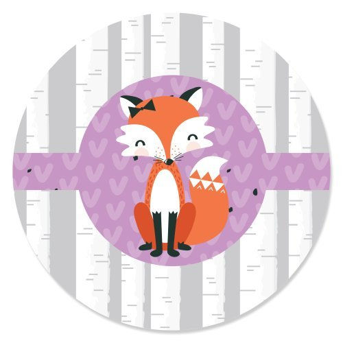 (Big Dot of Happiness Miss Foxy Fox - Baby Shower or Birthday Party Circle Sticker Labels- 24 Count)