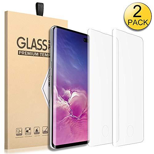 (Galaxy S10 Plus Screen Protector 2 Packs Full Coverage Ultra-Clear Thin Anti-Bubble Film Anti-Fingerprint Anti-Scratch Case Friendly Tempered Glass Screen Protector for Samsung Galaxy S10 Plus)