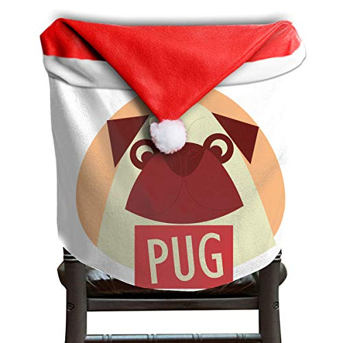 (Santa Hat Chair Covers Pug Chairs Back Cover Slipcovers Kitchen Sets Cosplay Decor)