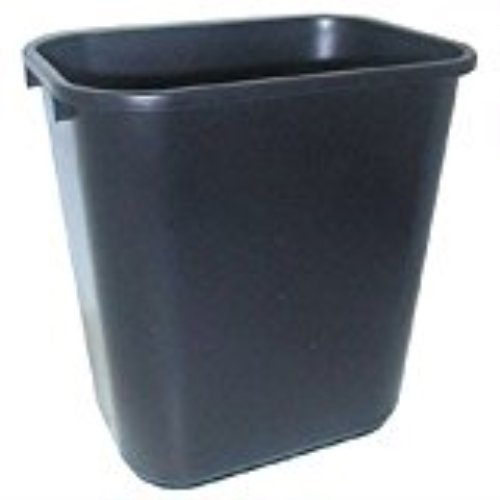 Continental Commercial 2818BK Rectangle Waste Basket, 28-1/8 Quart Capacity, 15