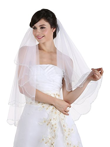 (2T 2 Tier Beaded Scallop Edge Bridal Veil - White Fingertip Length 36