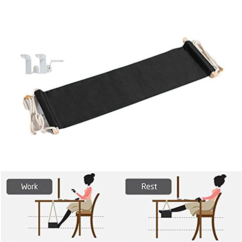 JUN-Q Canvas Foot Rest Desk Hammock,Mini Office Under Desk Foot Rest Stand Foot Hammock, Adjustable Desk Feet Hammock (Black)