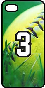 Softball Sports Fan Player Number 03 Smoke Rubber Decorative iPhone 4/4s Case
