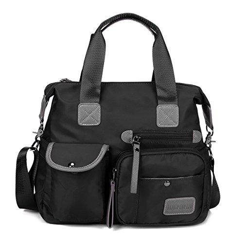 Women's Nylon Waterproof Handbag, Gracosy Fashion Cross Body Bag Casual Messenger Bags Shoulder Bags Ladies Shopping Folding Tote Large Sling Bag Multifunction Bag for Office Daily Life Black