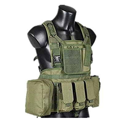 H World Shopping Tactical Airsoft Paintball Adjustable MOLLE RRV Assault VEST with Pouches OD Green