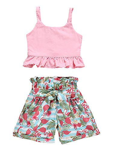 VISGOGO Toddler Baby Girls Outfits Clothes Set Halter Crop Tops + Flamingo Short Pants (6T)