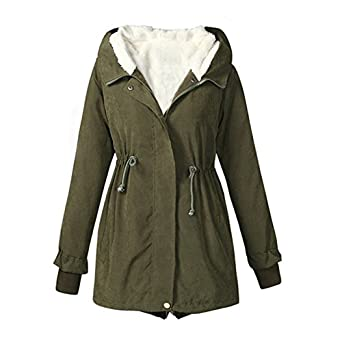 Anself Women Winter Warm Thick Coat Outdoor Hood Parka Long Jacket with Pockets