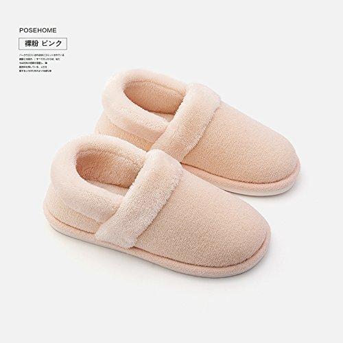 LaxBa Femmes Hommes chauds dhiver Chaussons peluche antiglisse intérieur Cotton-Padded ShoesBare powderFemale Slipper modèles: (37-38) [pour 36-37 yards]