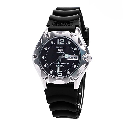 Seiko 5 Sports Black Dial Black Rubber Unisex Watch SNZ453J2