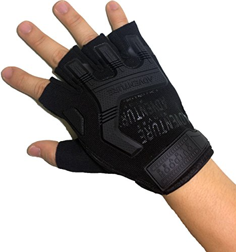Ranger Turn in Tactical Half Finger Fingerless Light Assault Gloves Protection Riding Fitness Working Cycling Alfresco Sports Athletic Biking - Black (Black)