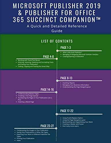 Microsoft Publisher 2019 & Publisher for Office 365 Succinct CompanionTM: A Quick and Detailed Reference Guide