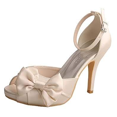 Wedopus MW963 Women's Peep Toe High Heels Pumps Bowtie Pleated Platform Satin Wedding Bridal Shoes Size 5 Ivory