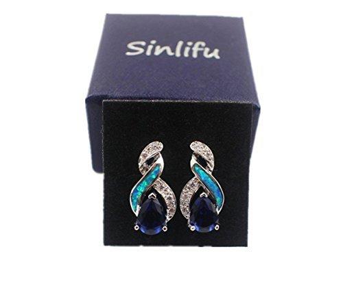 Sinlifu Charming Teardrop Sapphire Opal Topaz CZ Silver Plated Pendant Necklace Chain 18'' (Silver Sets: Blue Opal+Sapphire) by Sinlifu (Image #5)