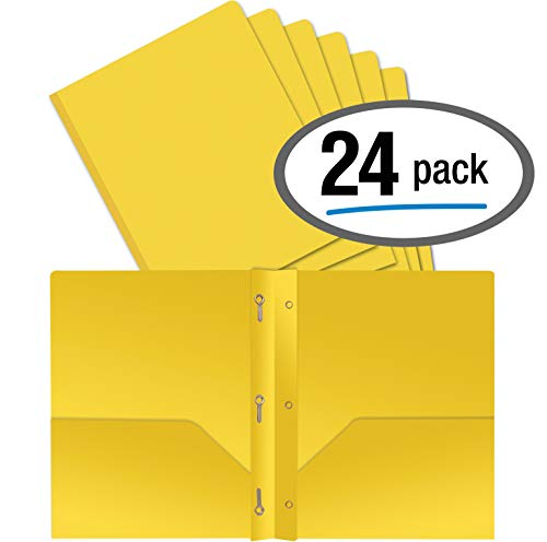 Better Office Products Yellow Plastic 2 Pocket Folders with Prongs, Heavyweight, Letter Size Poly Folders, 24 Pack, with 3 Metal Prongs Fastener Clips, Yellow ()