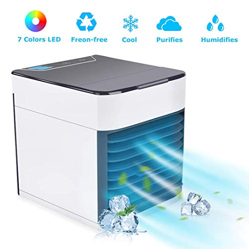 BASEIN 2019 Latest Personal Air Cooler Fan, Portable Air Conditioner, Humidifier, Purifier 3 in 1 Evaporative Cooler with 3 Speed, Mini AC USB Cooling Desktop Fan for Bedroom, Travel, Office (Best Portable Evaporative Cooler 2019)