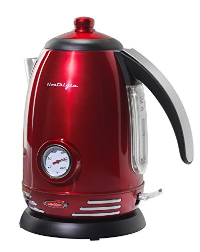 Nostalgia RWK150 Retro 1.7-Liter Stainless Steel Electric Water Kettle with Strix Thermostat