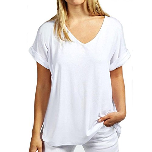 Gyoume Cotton Solid Women T-Shirt Casual Loose Short Sleeve Ladies V Neck Short Top T Shirt (XL, White)