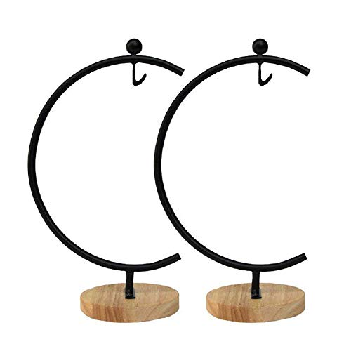 Awesomes Ornament Display Stand Air Plant Stand Flower Pot Stand Holder Iron Pothook Stand for Hanging Glass Terrarium Witch Ball (Black, Pack of 2)
