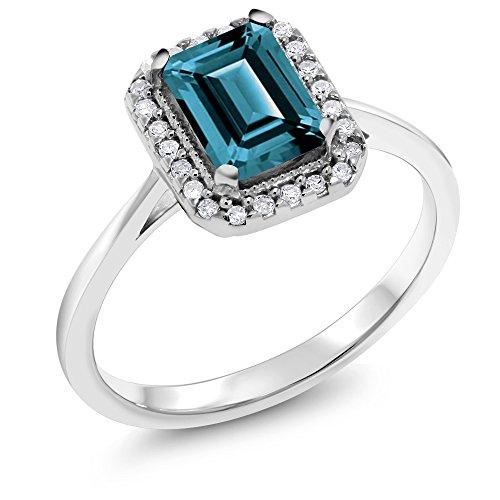 (Gem Stone King 10K White Gold 1.31 Ct Emerald Cut London Blue Topaz Solitaire Diamond Ring (Size 8))