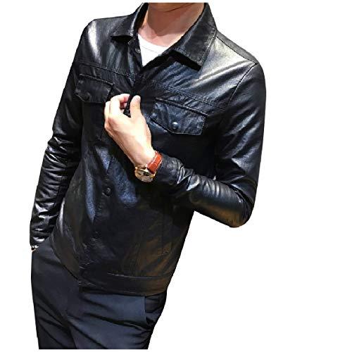Down Light Down MogogoMen Black Jackets Button PU Collar Turn Leather Weight Zw5xq4E