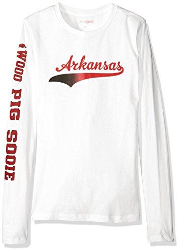Camp David NCAA Arkansas Razorbacks Women's BFF 2 Long Sleeve Crew Neck Tee, Small, White